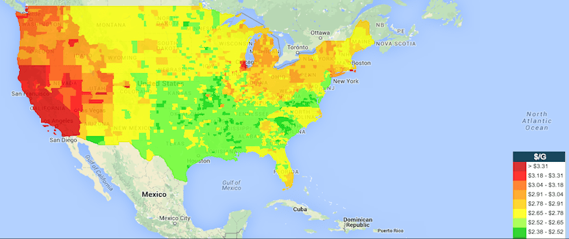 The national gas price map as of June 12 from Gasbuddy.com.