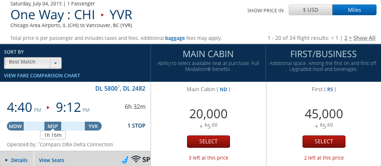 One-way from Chicago (MDW) to Vancouver (YVR) with Delta Air Lines.