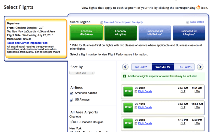 Searching on AA.com shows US Airways flights available at the MileSAAver level.