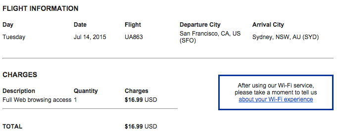 At $16.99 for the entire 14-hour flight, United