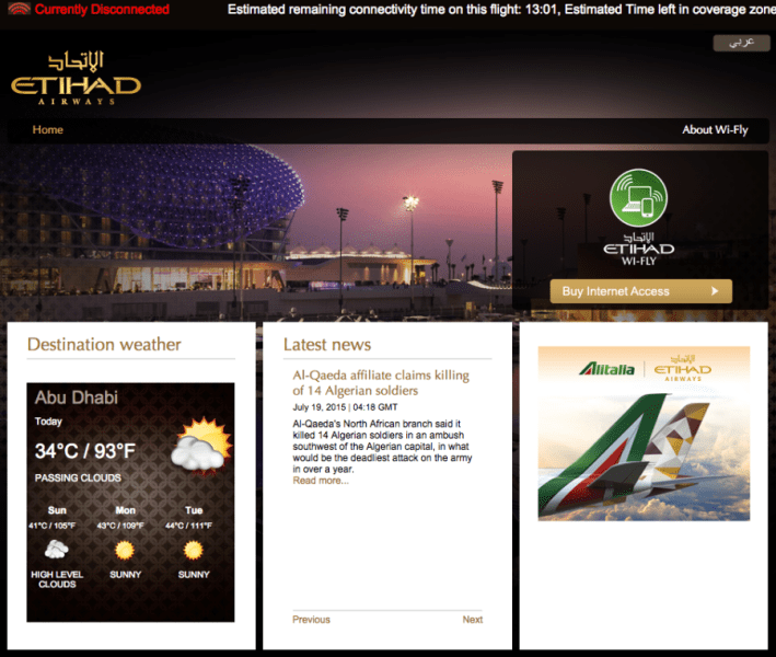 Etihad offers Wi-Fi on select long-haul flights, but performance can be hit or miss.