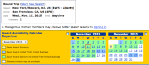 Availability for Newark to San Francisco on United