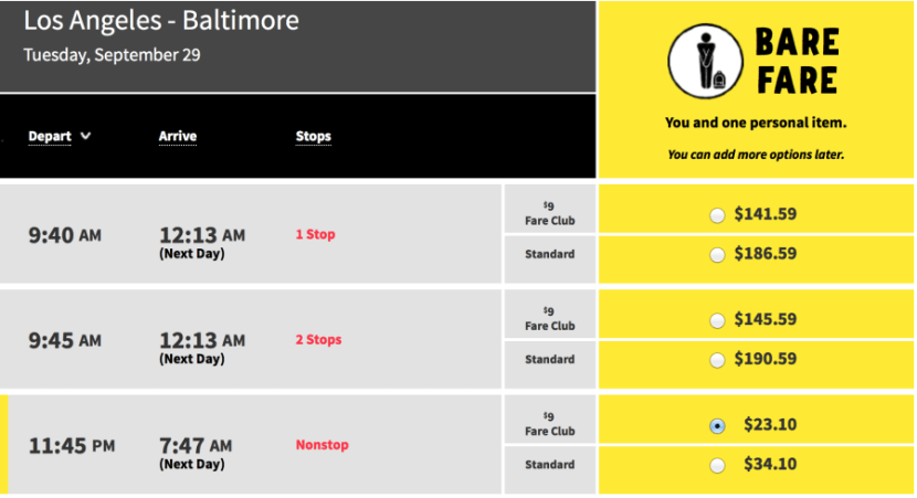 Los Angeles- Baltimore for $34 one-way on Spirit.