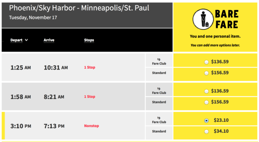 Phoenix to Minneapolis for $34 one-way on Spirit.