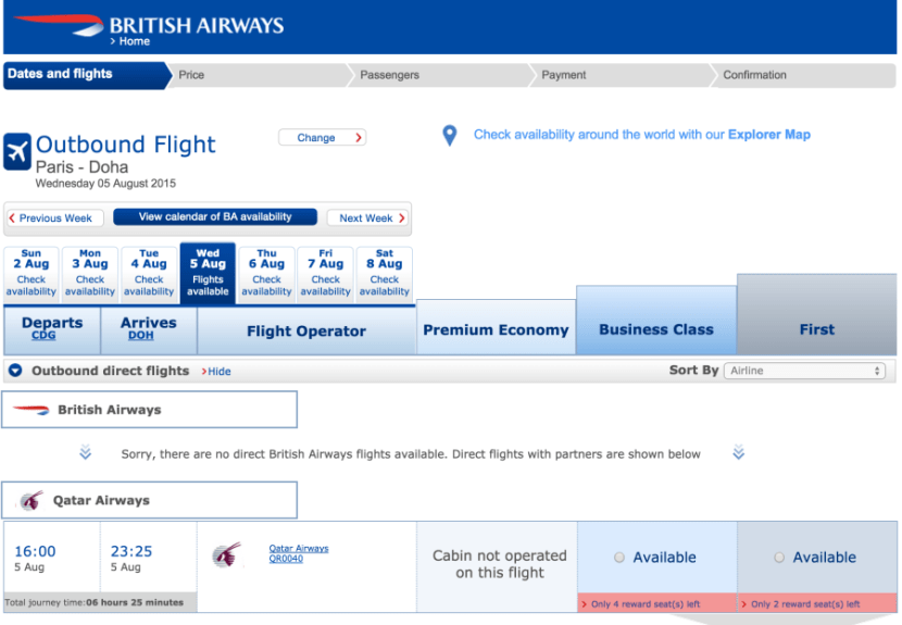 Search for Qatar award availability on British Airways