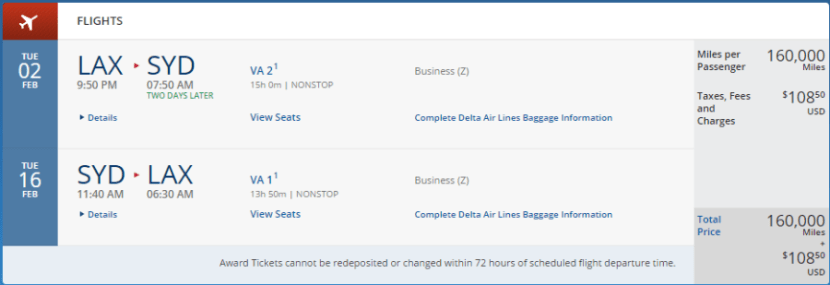 Los Angeles to Sydney in business class, February 2-16