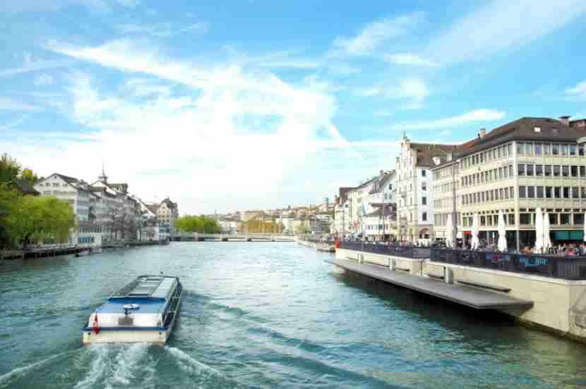 Cruising on the Limmat River. Photo courtesy of Shutterstock