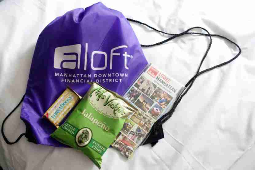 My Aloft welcome bag.
