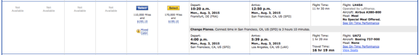 Eventually, I was able to find a flight to San Francisco and then a connecting one to LA.