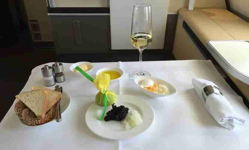 I started with the signature caviar service.