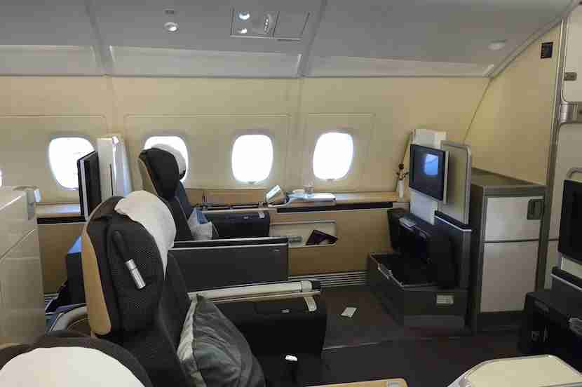 Just four seats abreast in first class.