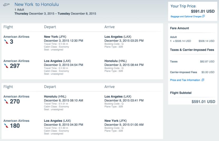 New York (JFK) to Honolulu for $591 on AA.