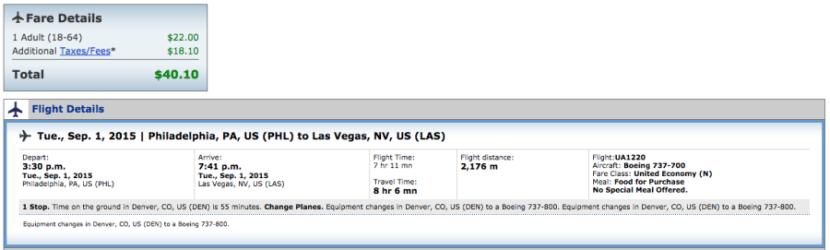 Philadelphia to Las Vegas for $40 on United.