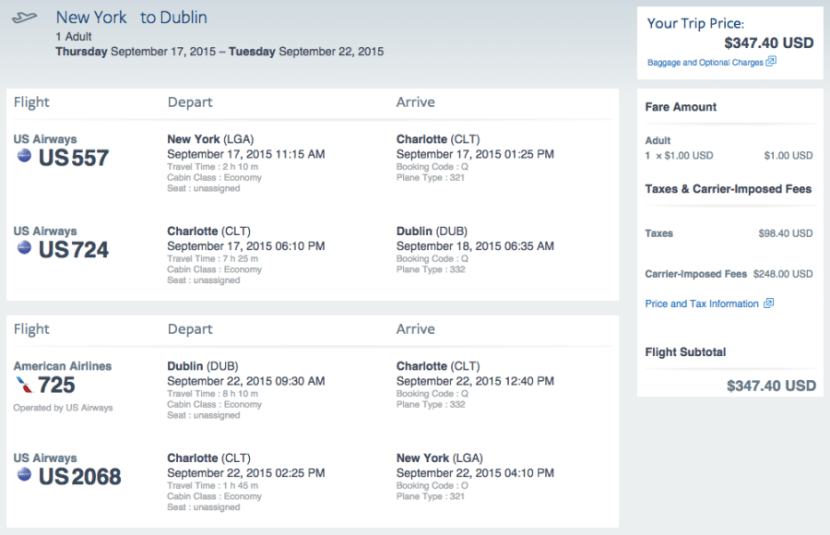 New York (JFK) to Dublin (DUB) for $347 on American.