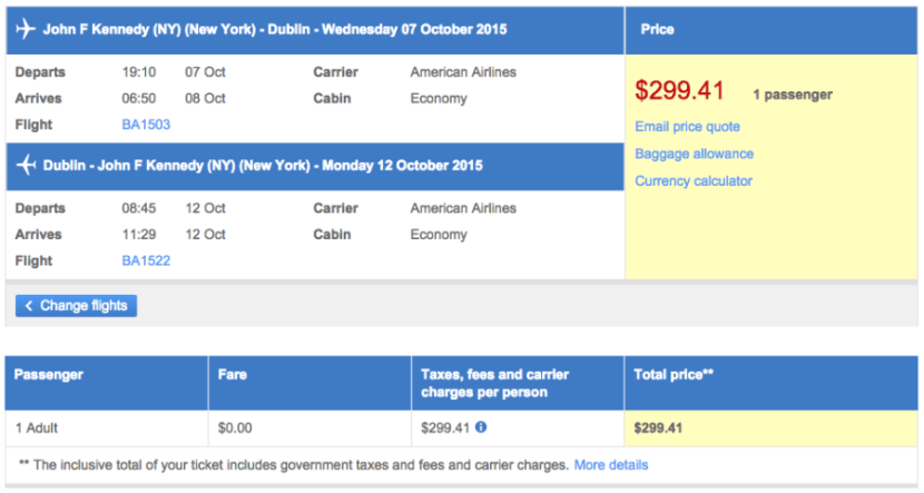 New York (JFK) to Dublin (DUB) for $299 on American via AARP.