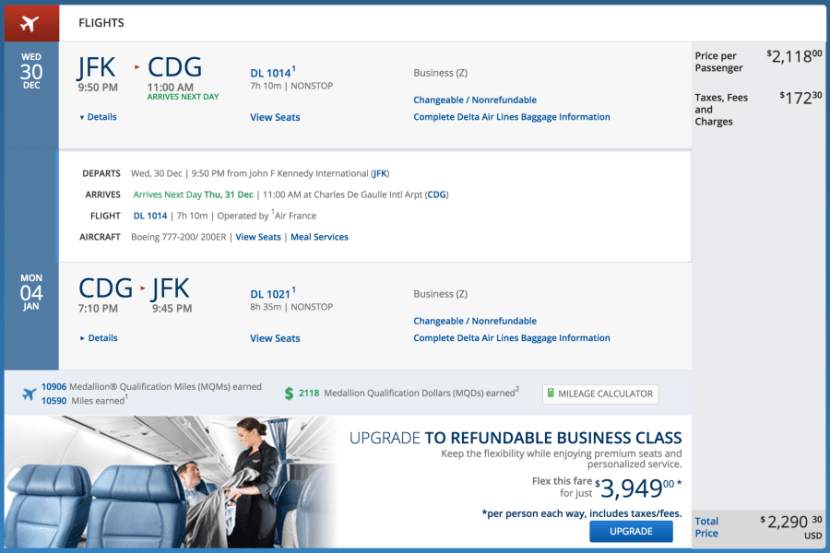 New York (JFK) - Paris (CDG) for $2,290 round-trip in business on Air France.