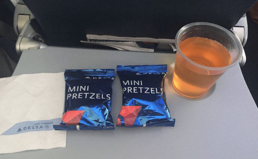 I was very satisfied with some mini pretzels and a glass of apple juice.