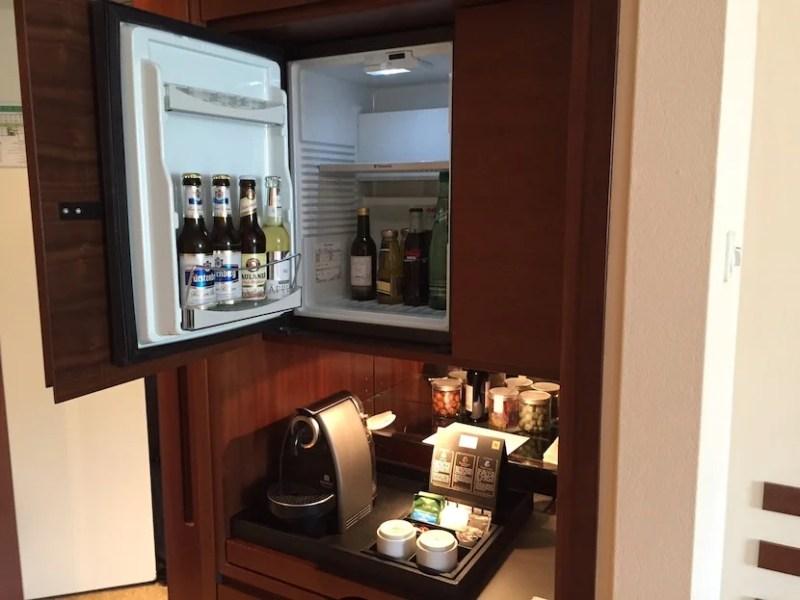 The minibar and Nespresso machine.