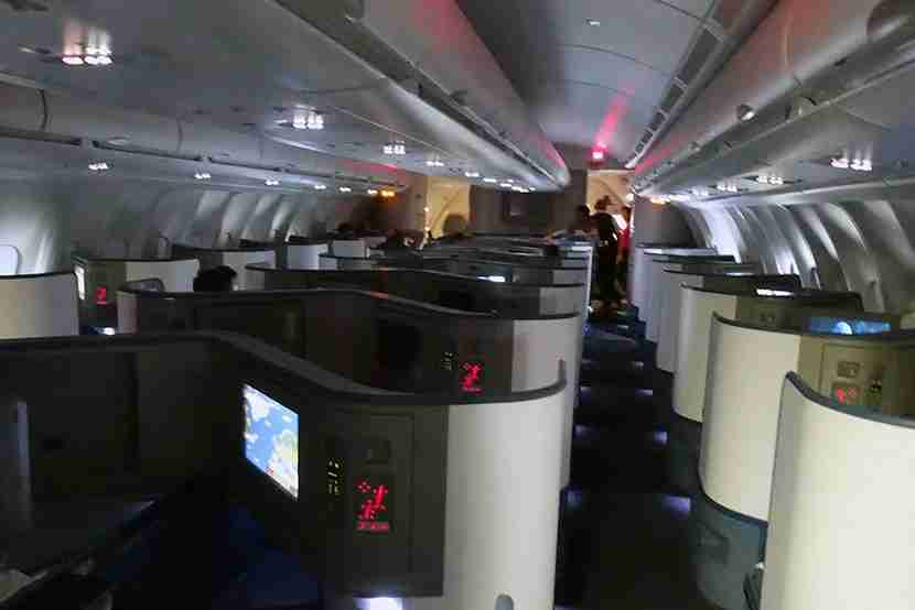 Looking into the Delta One business cabin.
