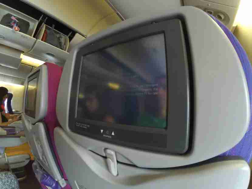 Entertainment screens on the back of each seat
