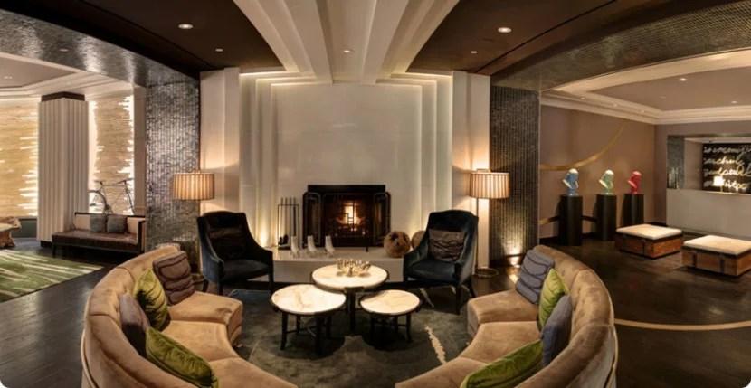 The lobby fireplace at the Palomar Hotel Philadelphia. Photo courtesy of the hotel.