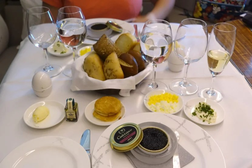 Caviar service on Cathay Pacific.