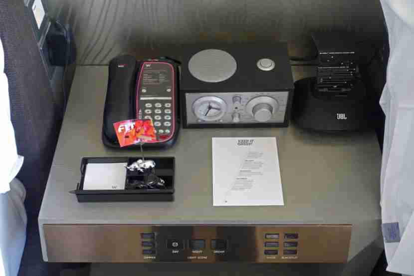 Bedside table with electronic controls in the Wonderful Room.