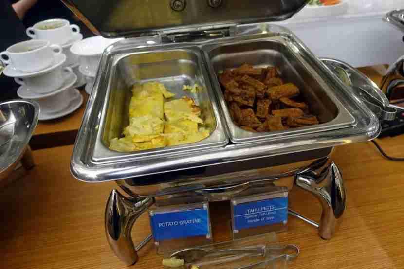 Food spread in the Garuda lounge.