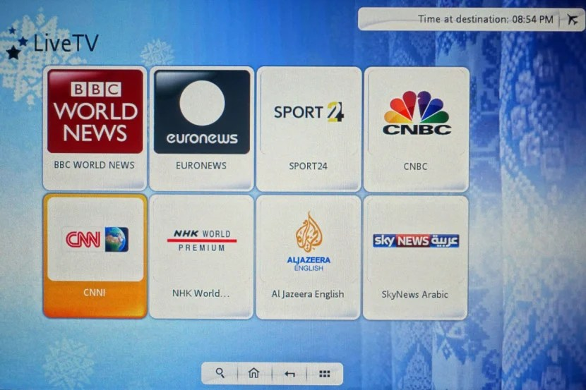 Like on Etihad, you can choose from several satellite TV channels.