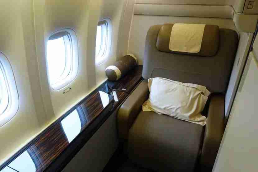 First class window seat.