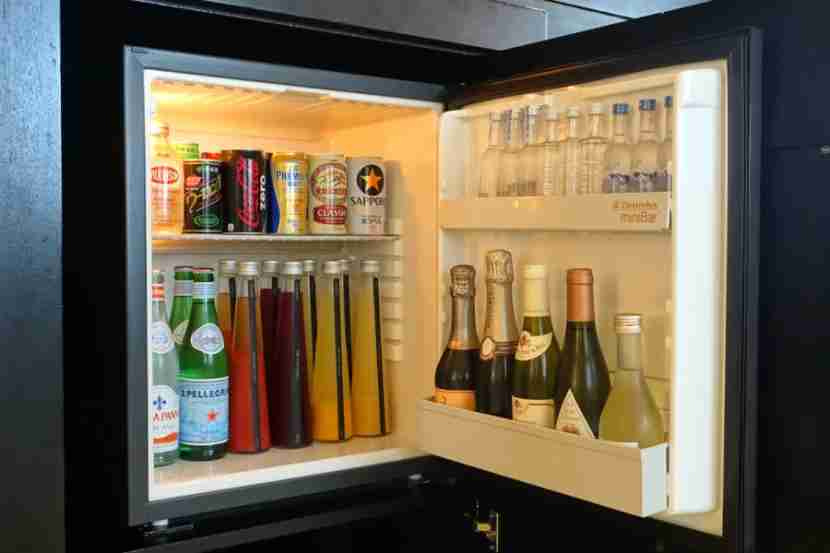 There are more beverages in the fridge, including Champagne.