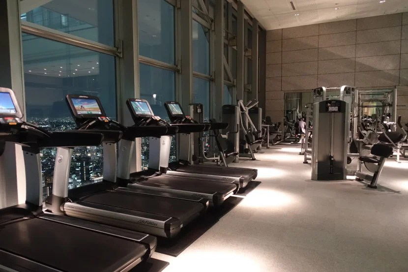 The gym has plenty of state-of-the-art equipment.