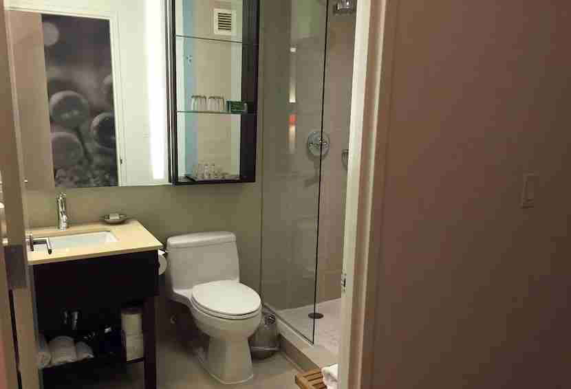 Not much space to luxuriate in the bathroom.