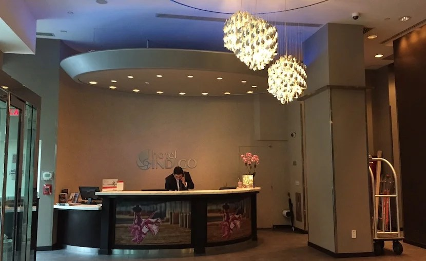 The reception desk in the lobby.
