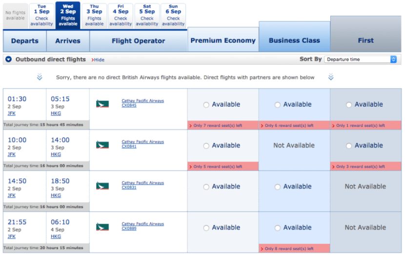 Premium-cabin availability is excellent just a few days before departure.