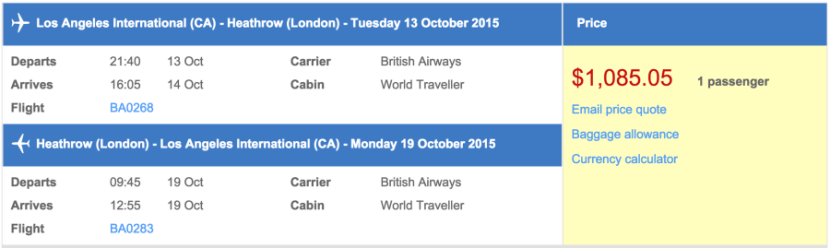 Los Angeles to London for $1,085.
