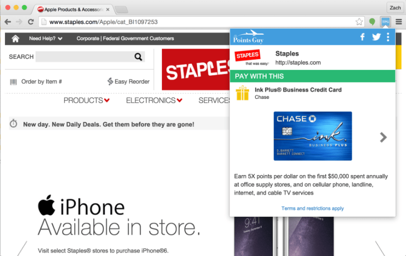 You'll see the Chase Ink card when you visit Staples.com.