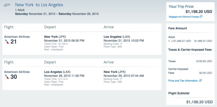 New York (JFK) to Los Angeles (LAX) for $1,198 in first class on American.