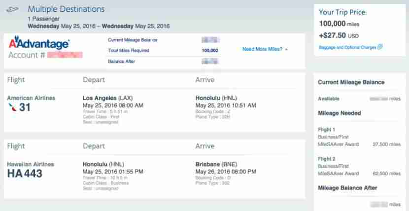 LAX to Brisbane pricing as two awards rather than one.