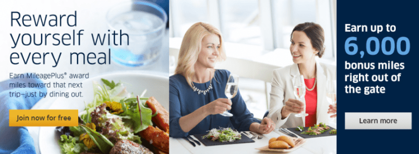 Dining out is another great way to earn bonus United miles.