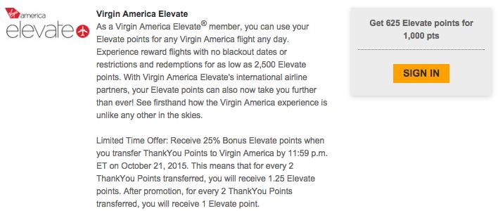 Transfer Citi ThankYou points to Virgin America.
