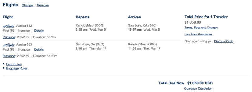 A sample round-trip fare between San Jose and Maui
