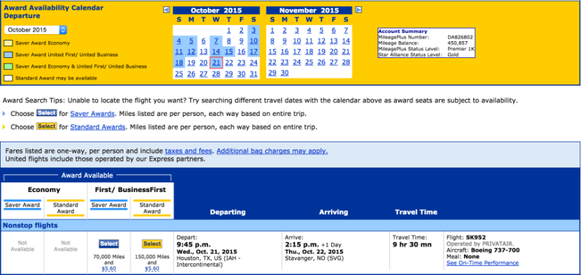 Excellent availability for IAH-SVG in October.