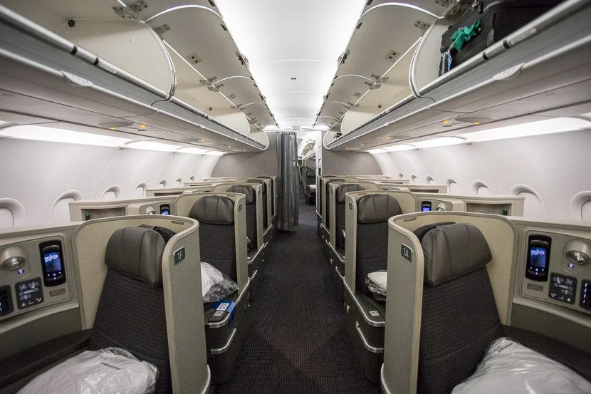 Ameriacn's A321T features a three-cabin configuration, including this first class cabin.
