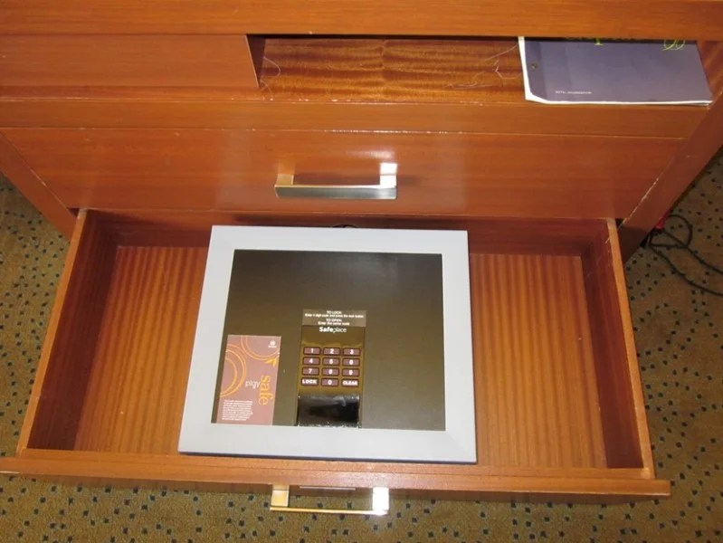 The safe was in the bottom drawer below the TV
