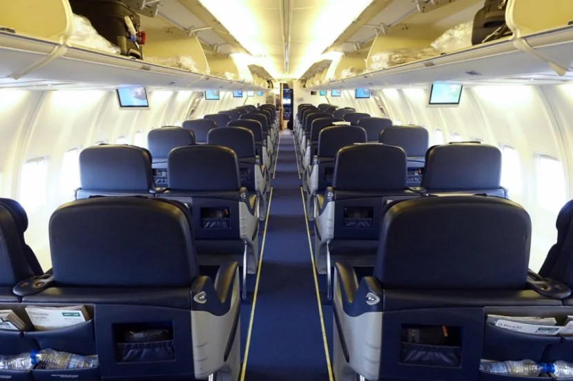 SAS 737 cabin from the rear.