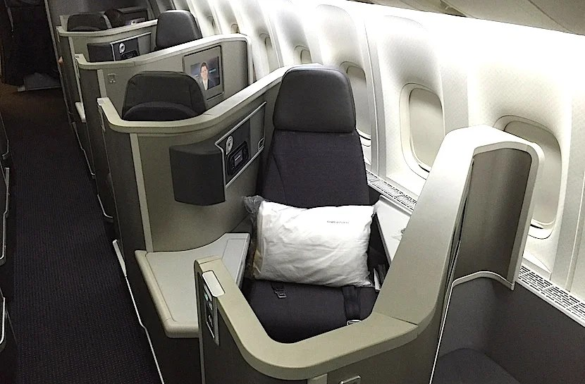 Notice that armrest on the aisle? It doesn't move, so rear-facing seats feel a bit narrower.