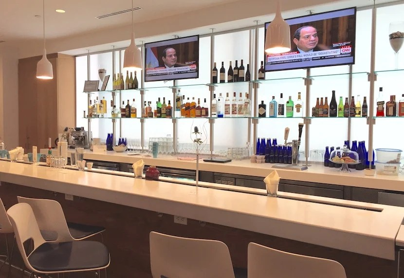 The bar - you order food here and purchase premium drinks.
