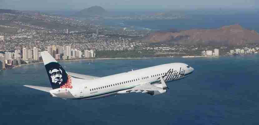 Alaska Airlines plane over Hawaii Oahu featured