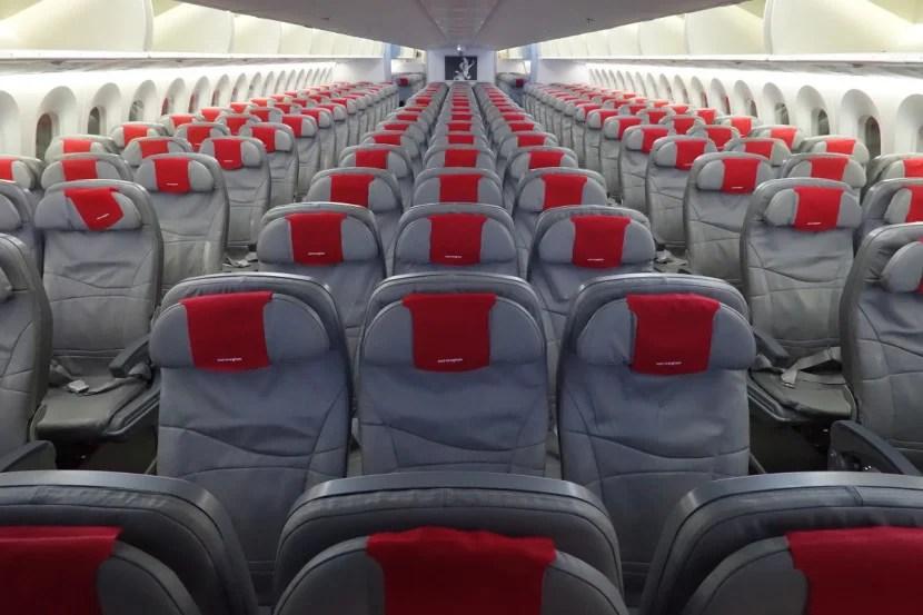Norwegian's economy cabin has seats arranged in a 3-3-3 configuration.